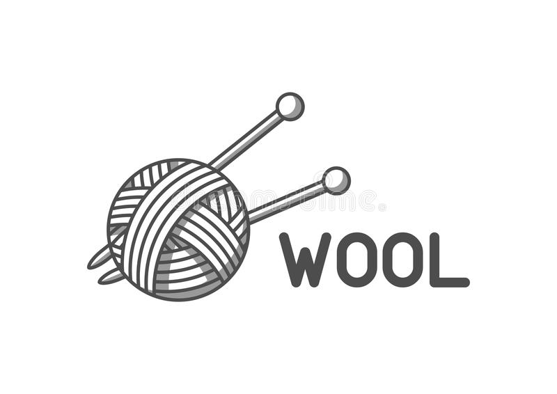 As lãs simbolizam com com a bola de agulhas do fio e de confecção de malhas Etiqueta para feito à mão, a confecção de malhas ou a ilustração royalty free