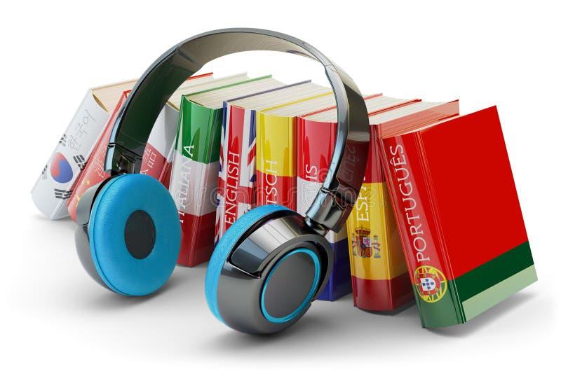 As línguas estrangeiras que aprendem e conceito traduzem, das comunicações e da educação ilustração do vetor