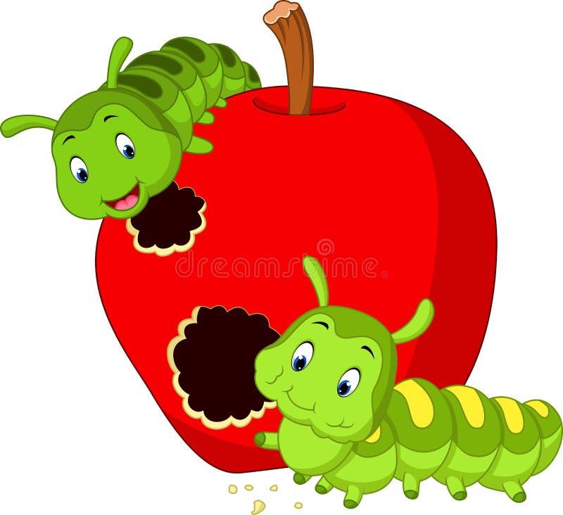 As lagartas comem a maçã ilustração do vetor