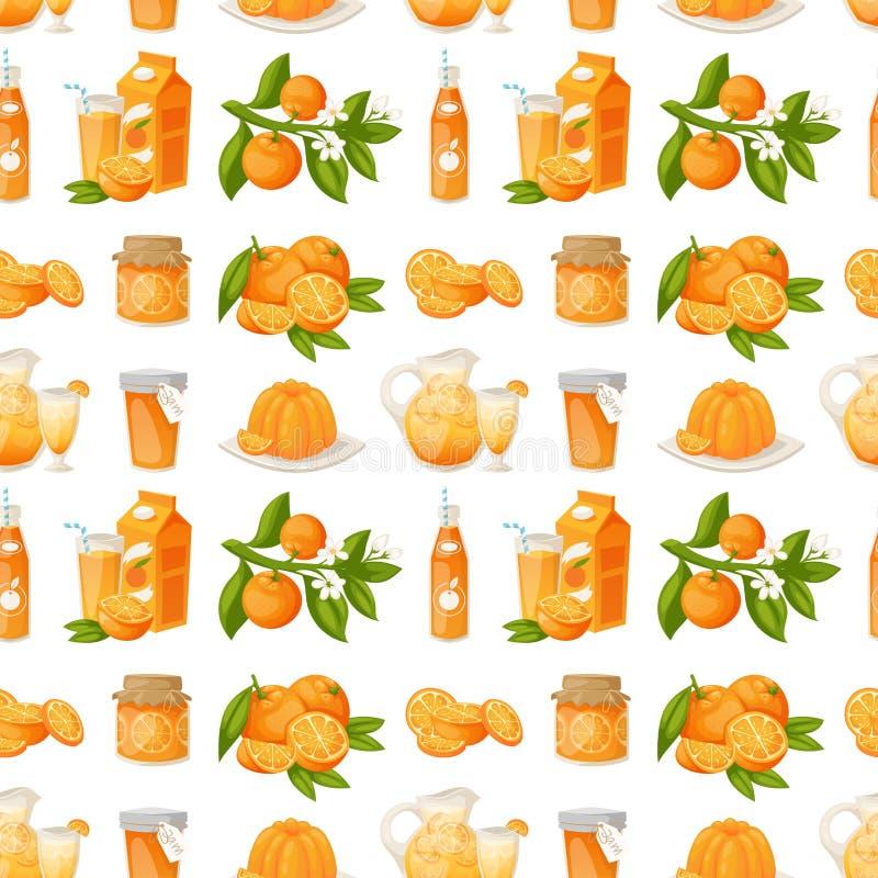 As laranjas e os produtos alaranjados vector da beleza tropical suculenta natural da sobremesa do vetor dos citrinos da ilustra?? ilustração stock