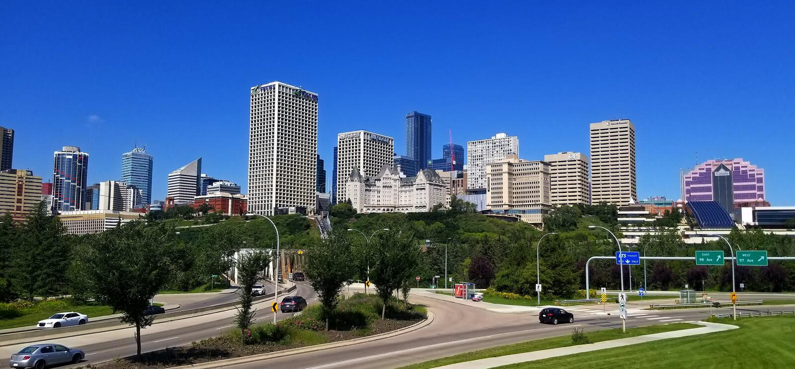 Downtown Edmonton skyline view from River Valley park stock photos