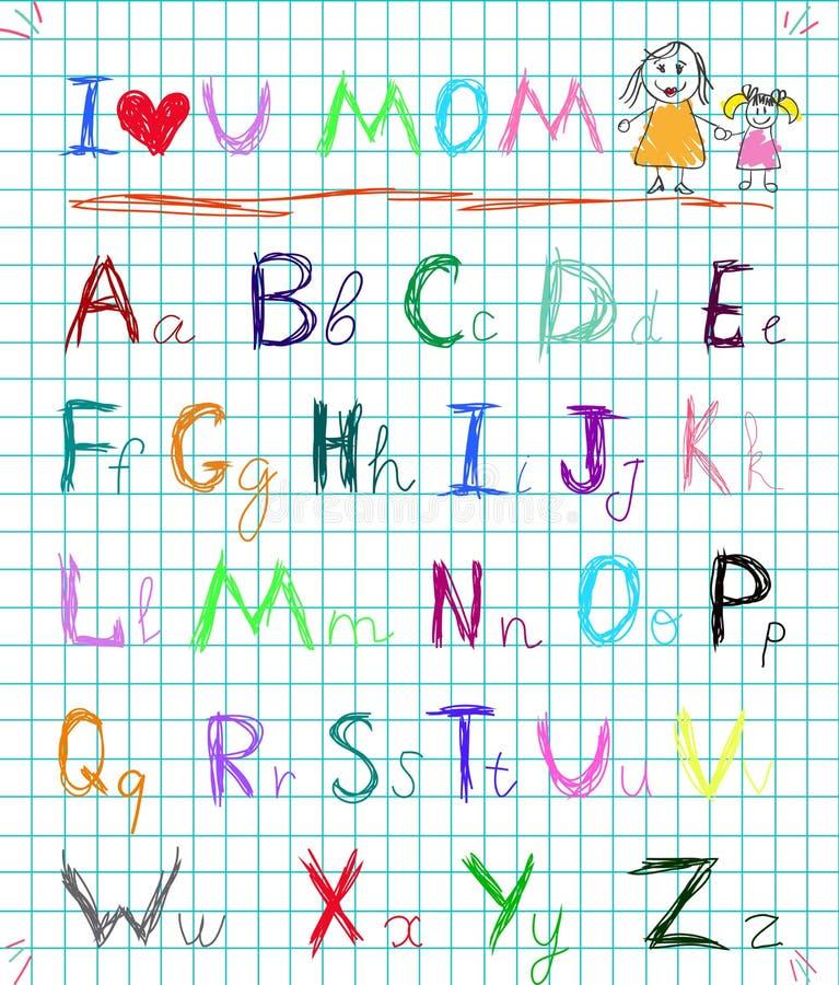 As letras de pintura tiradas do alfabeto da garatuja do estilo do bebê do arco-íris mão esboçado colorida na página esquadrada do ilustração royalty free