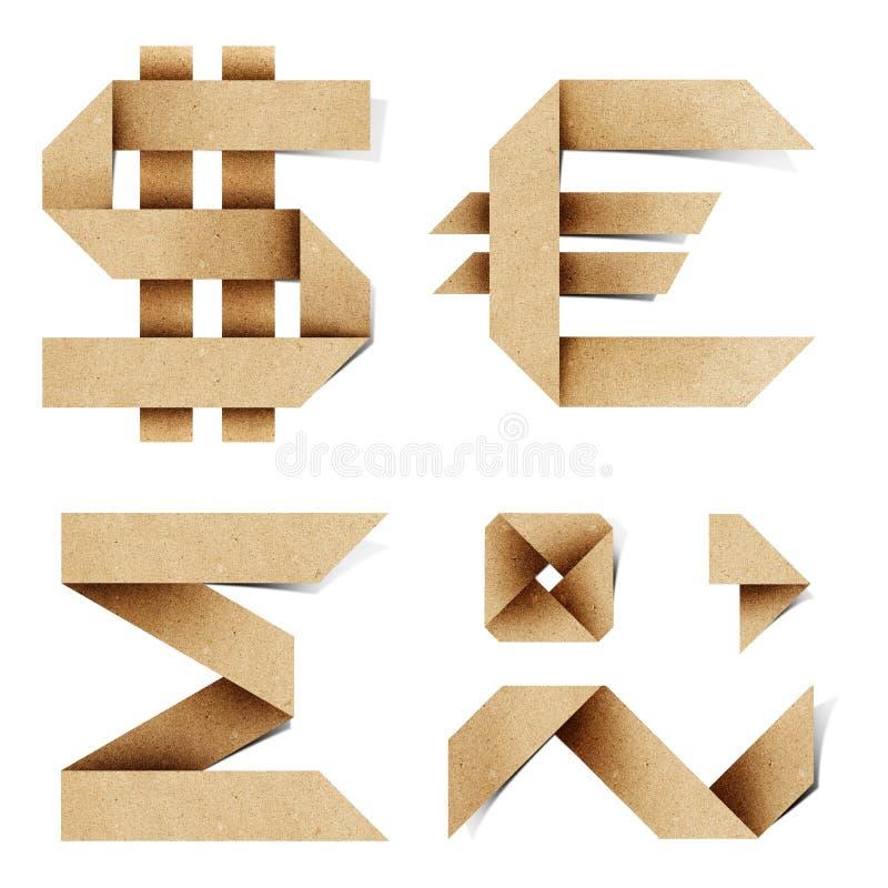 As letras do alfabeto de Origami recicl o ofício de papel imagem de stock
