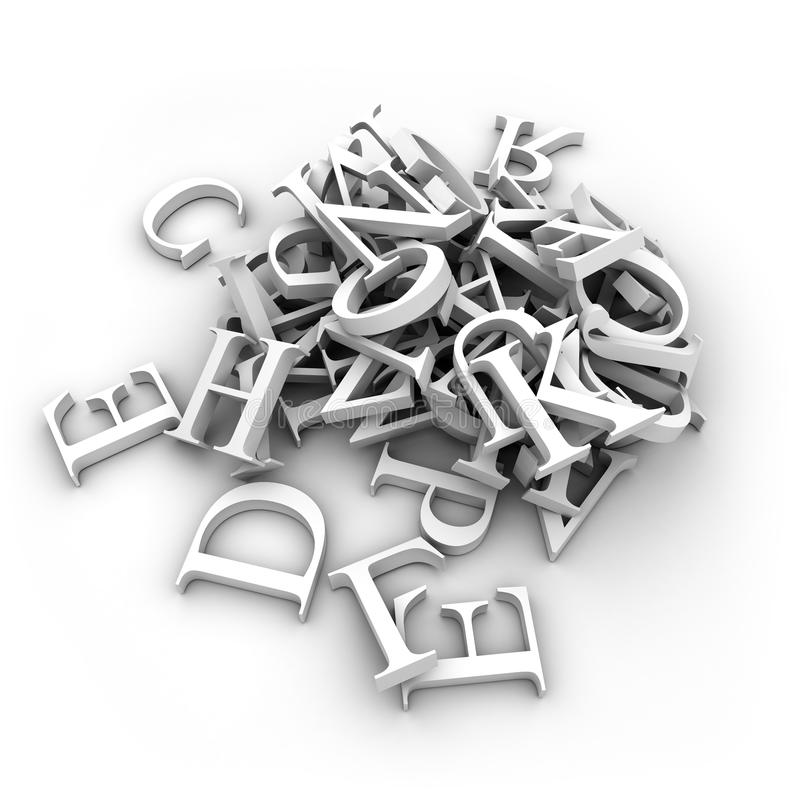 As letras do alfabeto derramaram dentro um montão ilustração royalty free