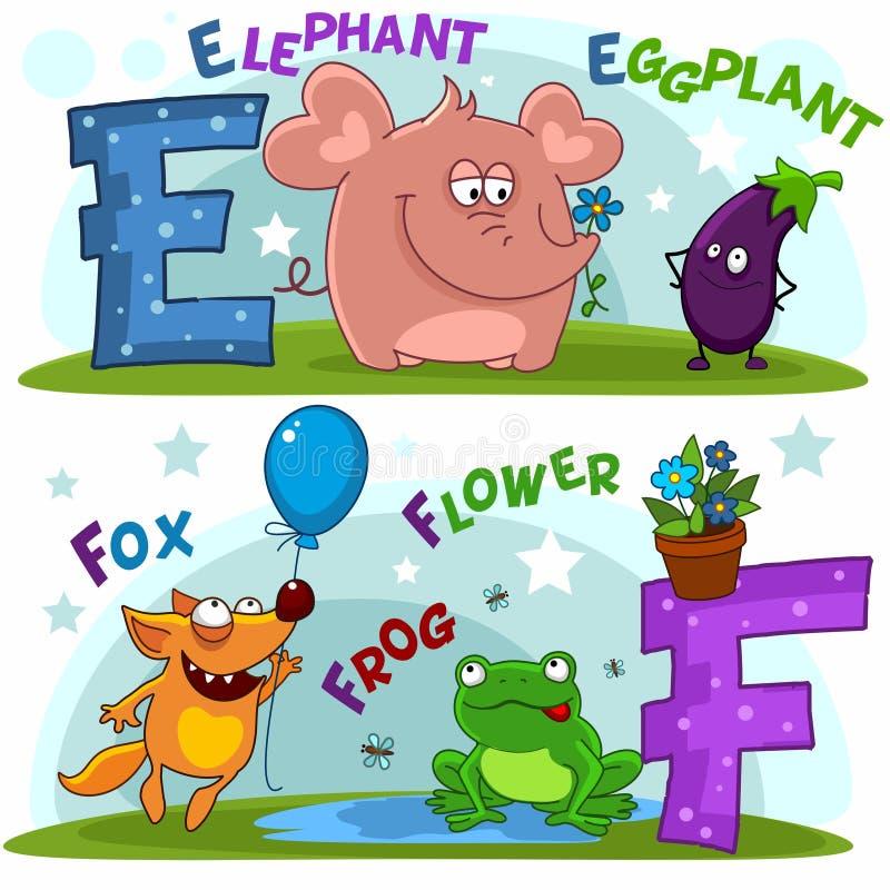 As letras e e f ilustração stock