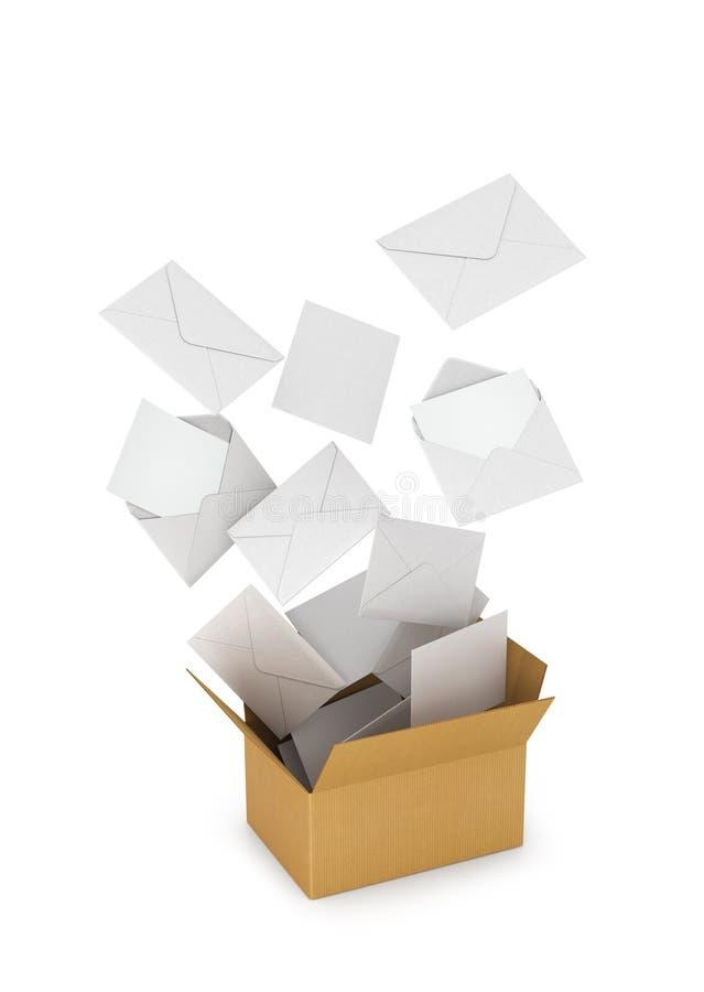 As letras e os envelopes voam para fora de uma caixa de cartão ilustração do vetor