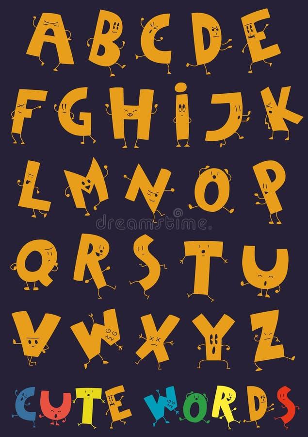 As letras felizes do alfabeto ilustração do vetor