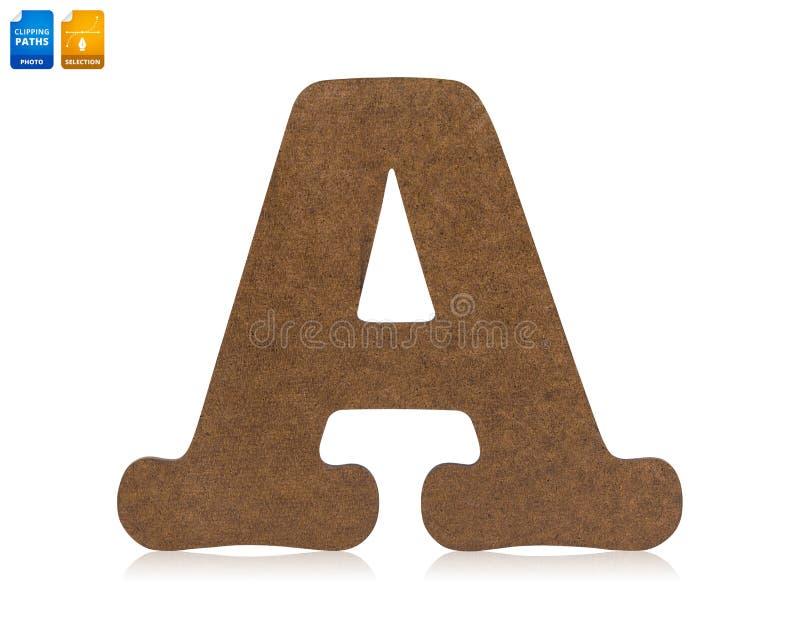 As letras A fizeram do material de madeira isolado no fundo branco Fonte de madeira vazia para seu projeto Objeto dos trajetos de ilustração stock