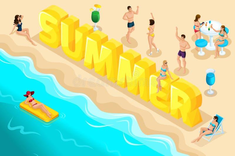 As letras isométricas verão, fonte, pessoa, caráteres, relaxam no recurso, férias, uma viagem ressaca ao mar, mar, praia, queimad ilustração do vetor