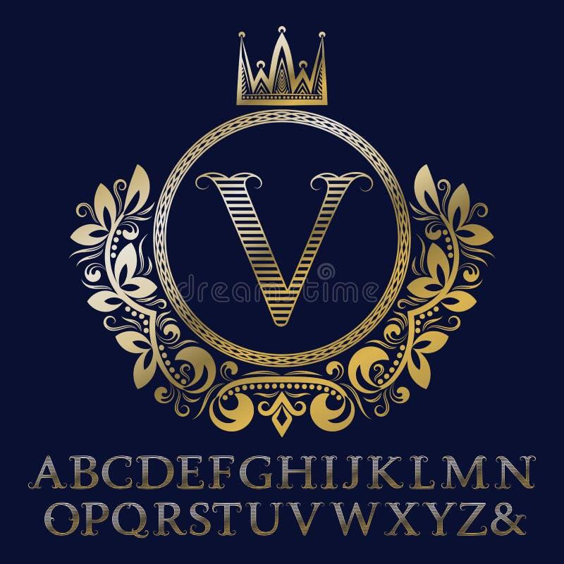 As letras listradas do ouro e o monograma inicial na brasão formam com coroa Jogo real da fonte e dos elementos para o logotipo ilustração do vetor