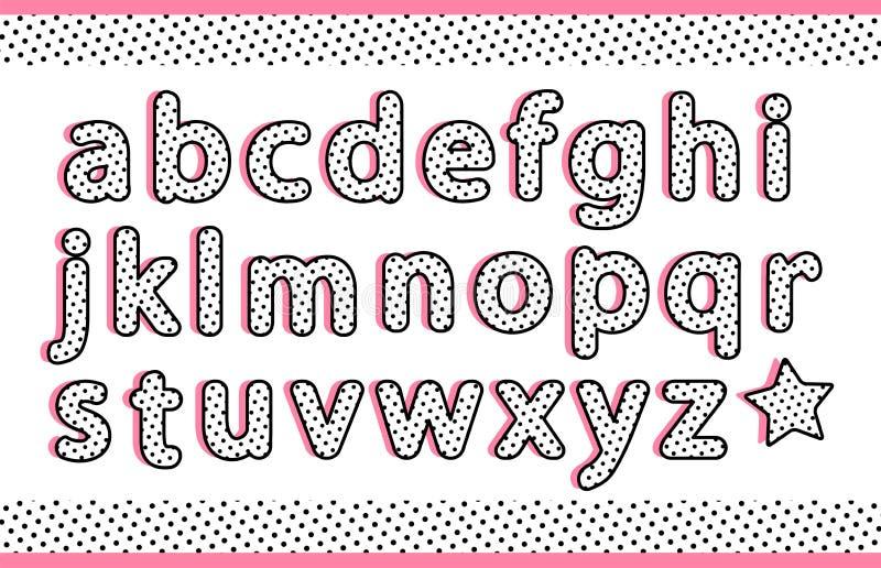 As letras pequenas do alfabeto preto dos às bolinhas ajustaram-se com sombra lisa cor-de-rosa Tipografia retro do vintage do veto ilustração do vetor