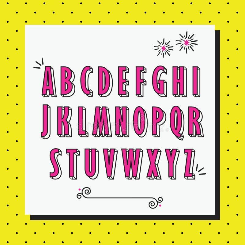 As letras principais do alfabeto cor-de-rosa ajustaram-se no teste padrão pontilhado do amarelo ilustração do vetor