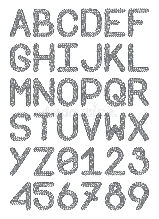As letras principais e os números do caráter tipo inglês da fonte escrevem as linhas cinzentas ilustração royalty free