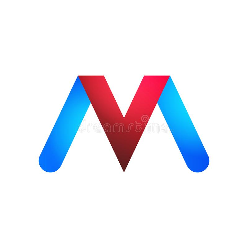 As letras V e M dos logotipos em azul e em vermelho ilustração royalty free