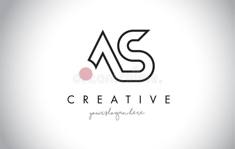 AS Letter Logo Design с творческой современной модной типографией иллюстрация штока