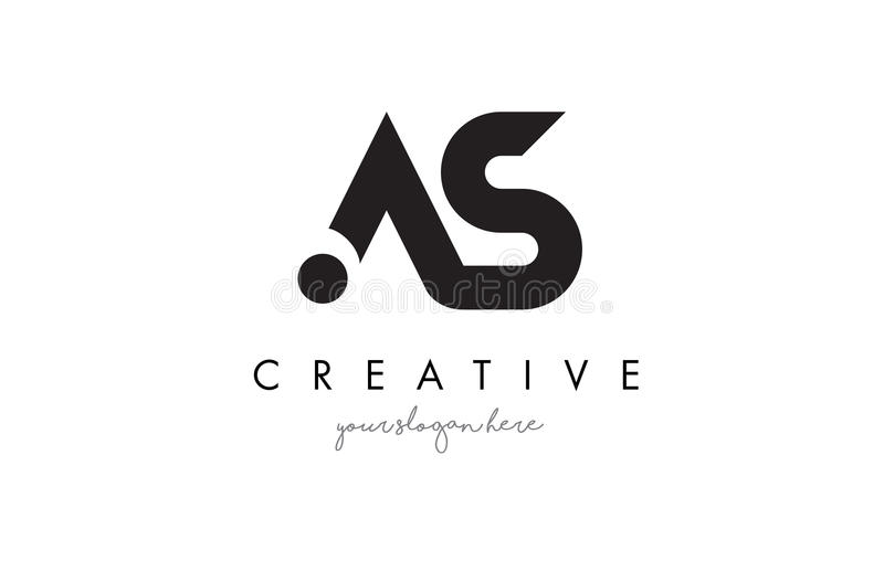AS Letter Logo Design with Creative Modern Trendy Typography. royalty free illustration