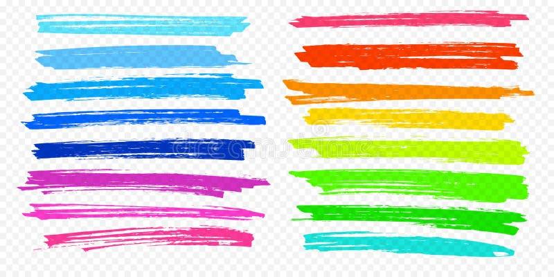 As linhas ajustadas da pena de marcador da cor do vetor do curso da escova do destaque sublinham o fundo transparente