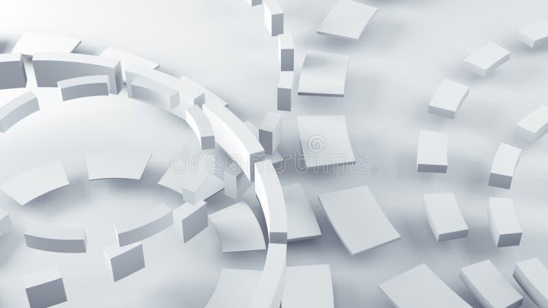 As linhas aleatórias concêntricas brancas 3D rendem ilustração do vetor