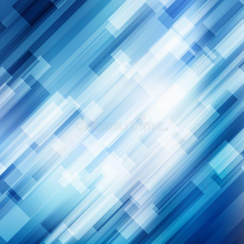 As linhas azuis diagonais geométricas do sumário sobrepõem o conceito brilhante da tecnologia do fundo do movimento do negócio da ilustração stock