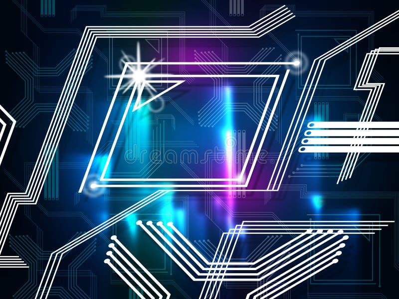 As linhas azuis fundo significam rotas e computadores da informação ilustração stock