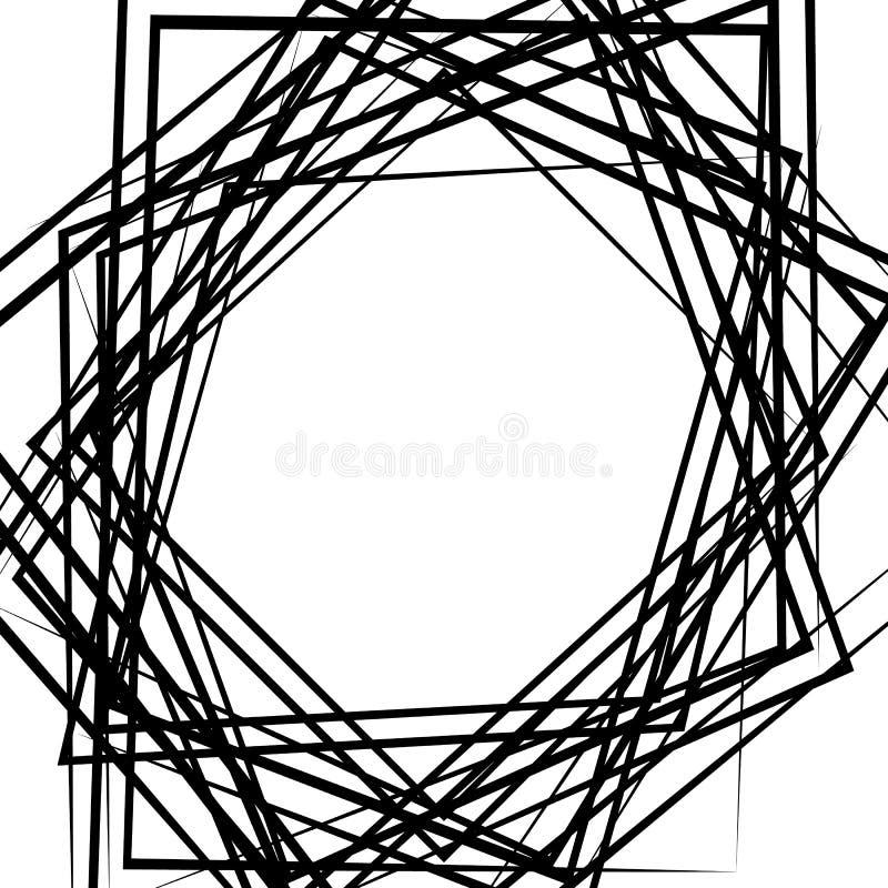 As linhas caóticas aleatórias abstraem a textura, teste padrão no formato quadrado ilustração stock