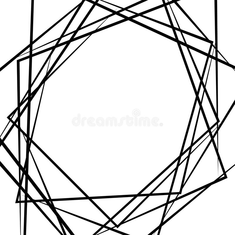 As linhas caóticas aleatórias abstraem a textura, teste padrão no formato quadrado ilustração do vetor