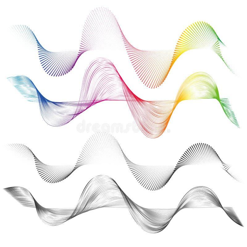 As linhas curvadas lisas do sumário projetam o fundo tecnologico do elemento com uma linha no soundwave do Stylization do formulá ilustração stock