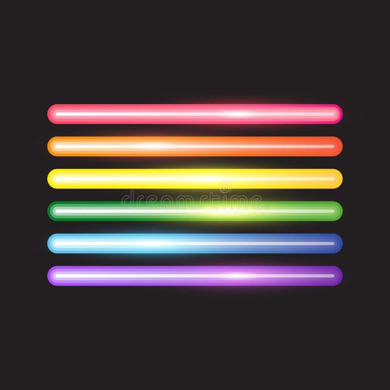As linhas de néon de incandescência, abstraem a bandeira de LGBT ilustração royalty free
