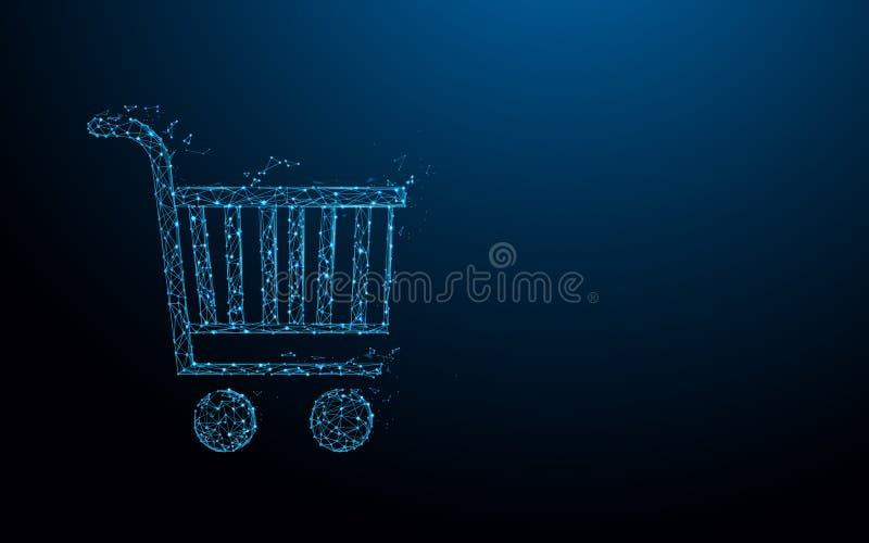 As linhas do formulário do carrinho de compras, os triângulos e o estilo da partícula projetam ilustração do vetor