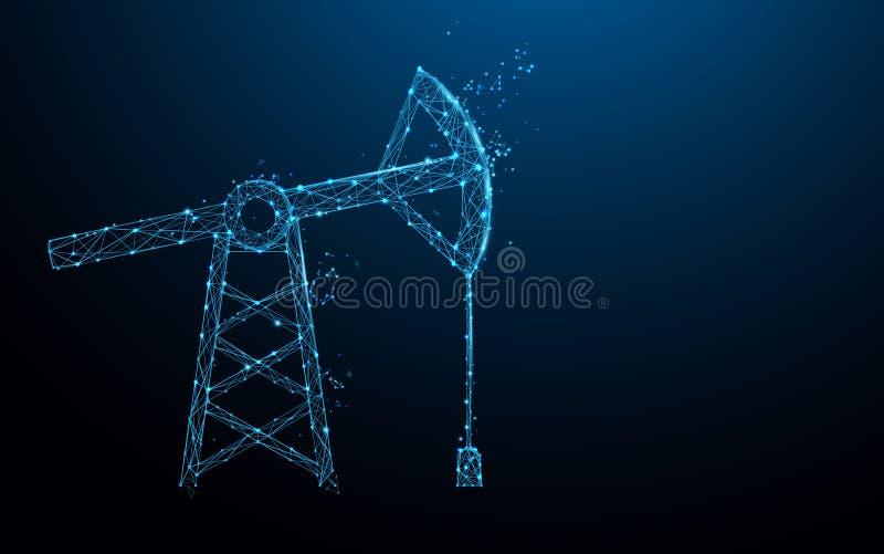As linhas do formulário da bomba de óleo, os triângulos e o estilo da partícula projetam ilustração royalty free