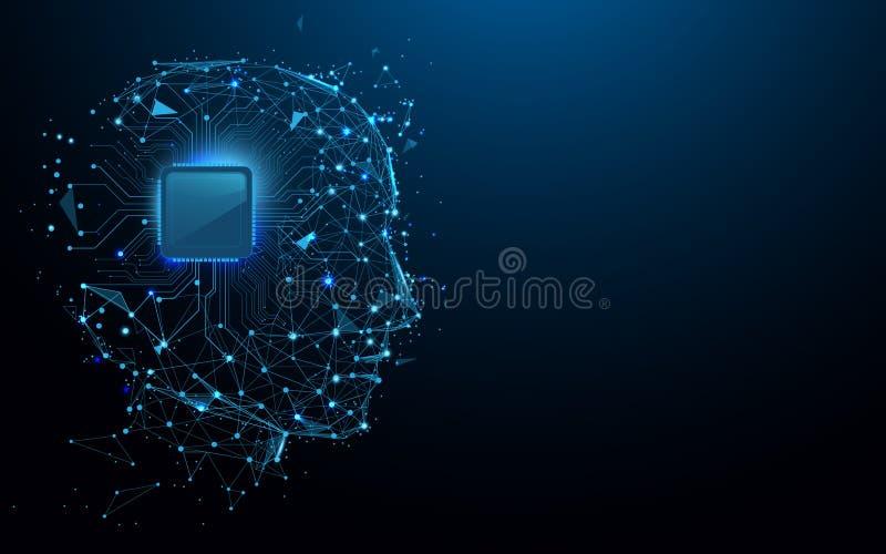 As linhas do formulário da cabeça e do chip de computador, os triângulos e o estilo da partícula projetam ilustração royalty free