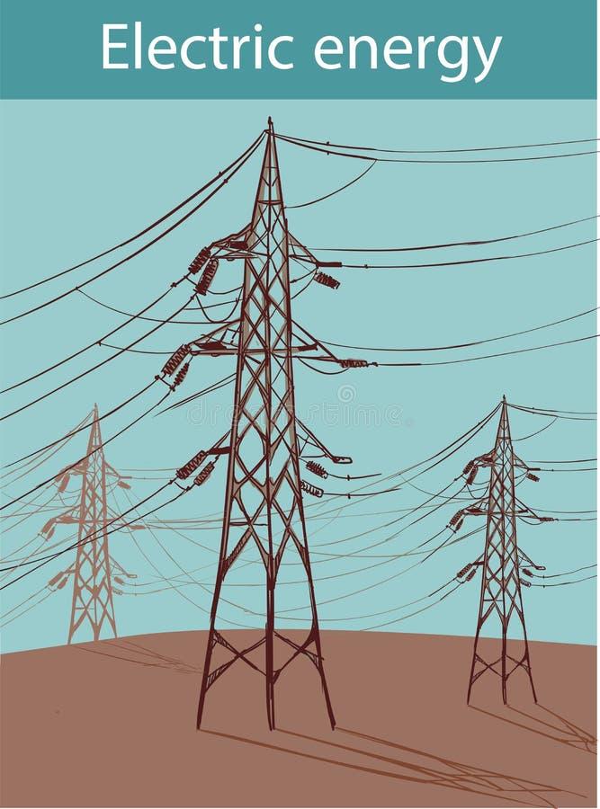 As linhas elétricas elétricas em um fundo do céu azul elevam-se em um backgro ilustração do vetor