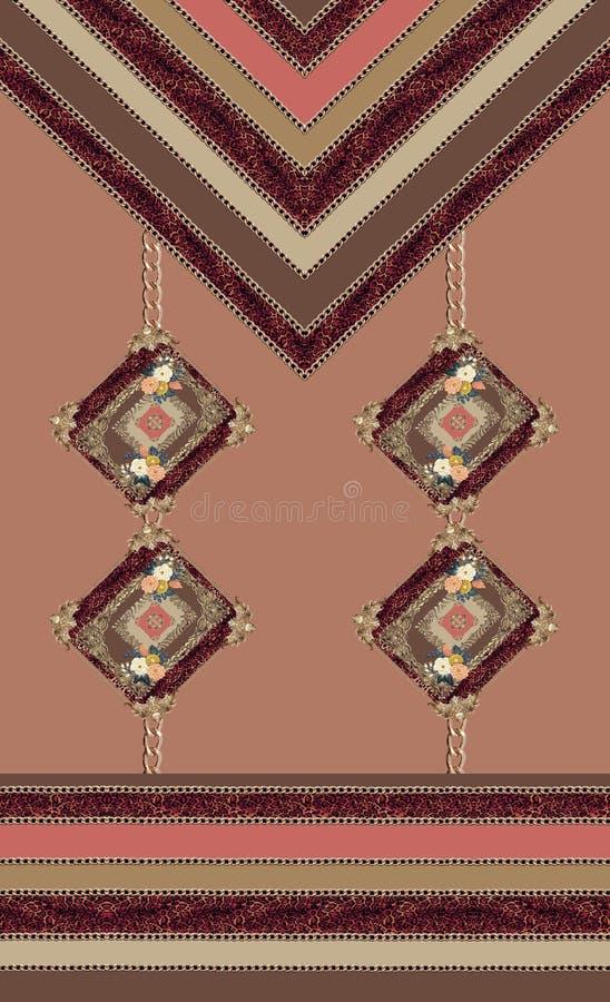 As linhas geométricas flores barrocos do ouro projetam ilustração do vetor