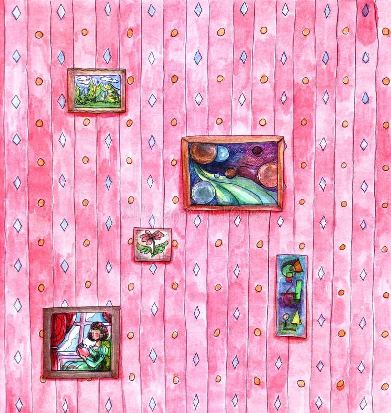 As listras cor-de-rosa retros do papel de parede modelam a suspensão na sala de visitas no resumo da flor do cosmos da paisagem d ilustração royalty free