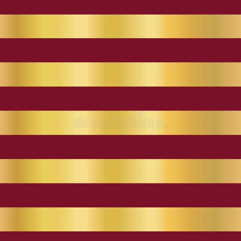 As listras da folha de ouro no vetor sem emenda vermelho modelam o fundo Linhas douradas horizontais Projeto elegante Natal, ano  ilustração do vetor