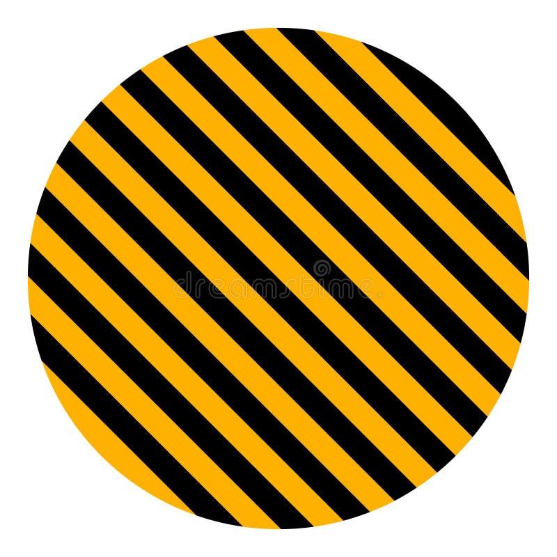 As listras diagonais amarelas e pretas do círculo, aviso da listra da segurança do vetor, circundam para advertir o fundo da cons ilustração do vetor