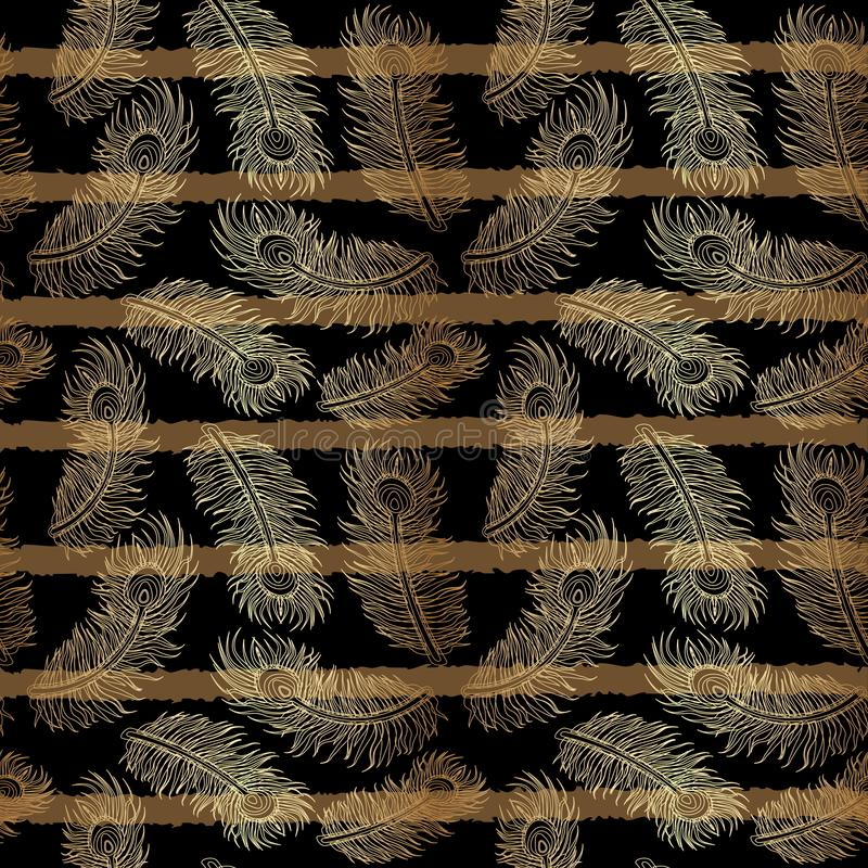 As listras exóticas modelam com penas do ouro ilustração stock