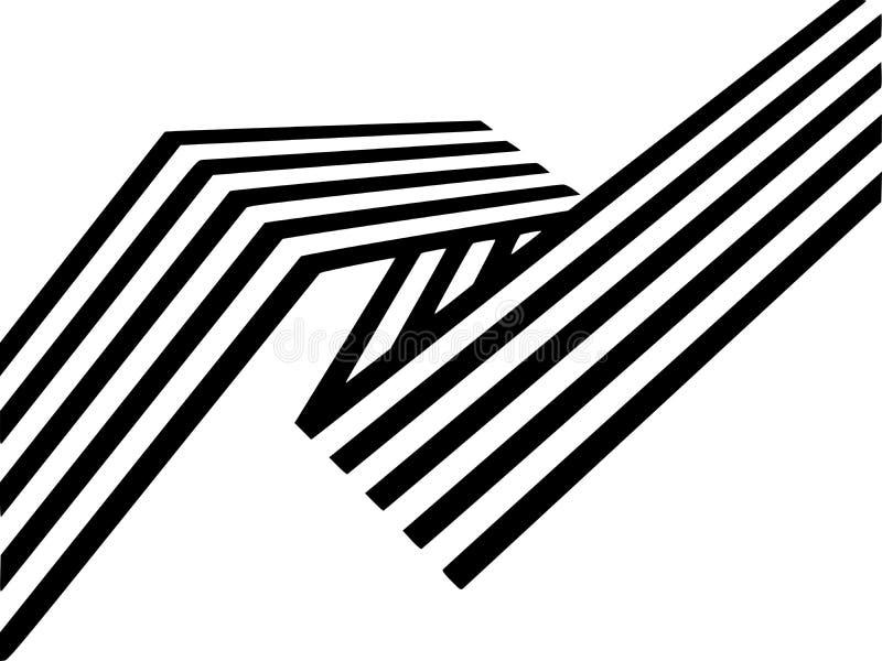 As listras preto e branco abstratas dobraram a forma geométrica da fita ilustração royalty free