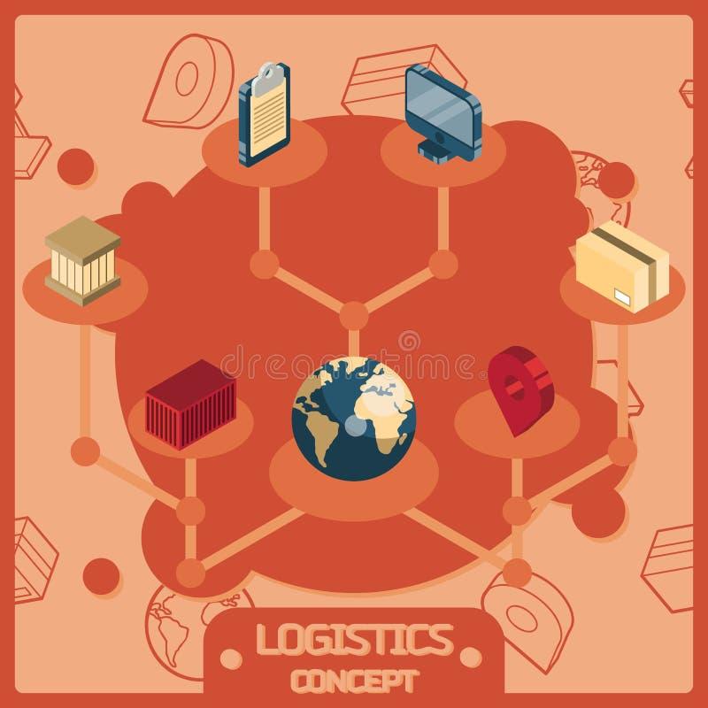 As logísticas colorem ícones isométricos do conceito ilustração royalty free