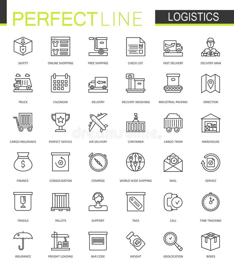 As logísticas diluem a linha ícones da Web ajustados Projeto dos ícones do curso do esboço do transporte ilustração do vetor