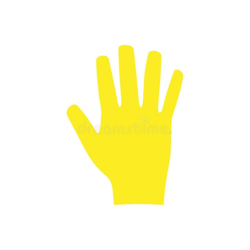 As luvas do trabalho amarelam o ícone profissional do vetor dos trabalhos domésticos do serviço do cuidado Proteção uniforme do j ilustração stock