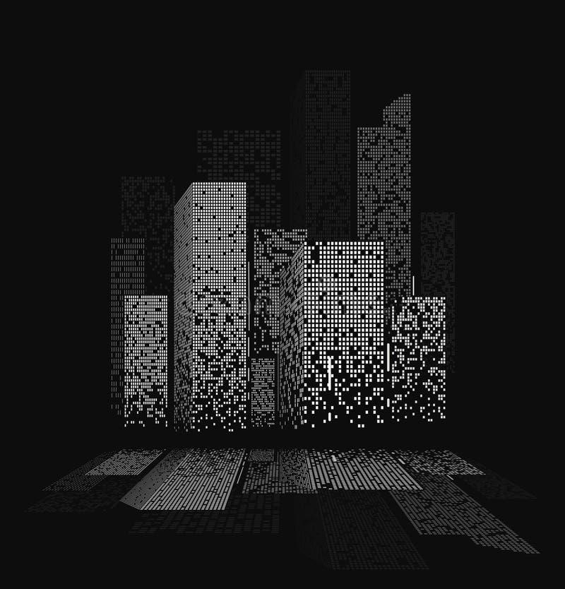As luzes da cidade da noite ajardinam o projeto com reflexões na água ilustração stock