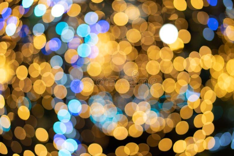 As luzes de Bokeh da árvore de Natal são iluminadas do satell múltiplo foto de stock royalty free