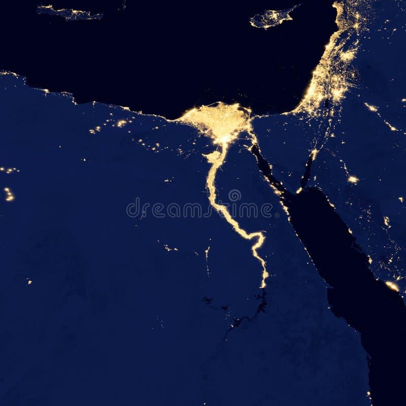 As luzes de Egito, elementos da cidade desta imagem são fornecidas pela NASA imagem de stock