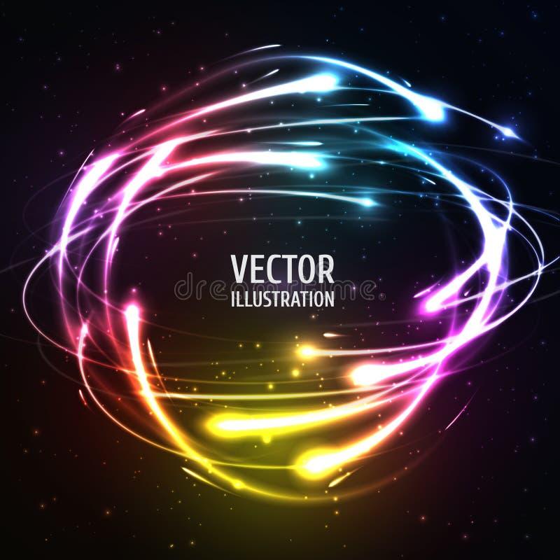 As luzes de néon de brilho gostam de meteoros na esfera Vetor ilustração do vetor