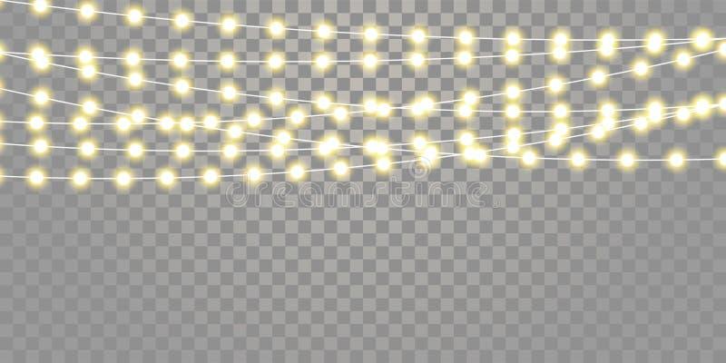 As luzes de Natal isolaram o grupo das cordas Xmas do vetor, luzes da lâmpada da celebração do feriado do festival do aniversário ilustração stock