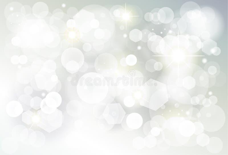 As luzes de prata do bokeh do Natal borraram o papel de parede ilustração do vetor
