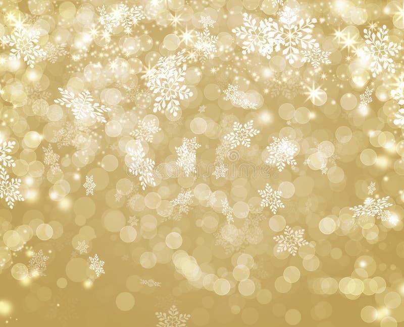 As luzes douradas decoradas com American National Standard branca do floco de neve do bokeh stars o Natal ilustração do vetor