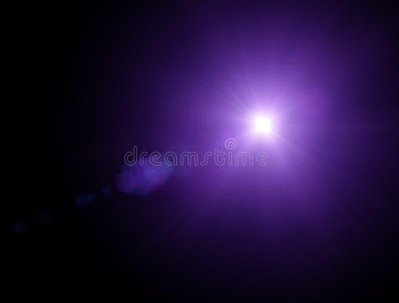 As luzes e protagonizam na noite Efeito da refração da lente Estrelas no céu ilustração stock