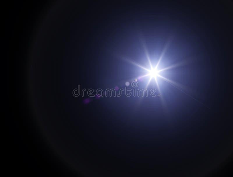As luzes e protagonizam na noite Efeito da refração da lente Estrelas no céu ilustração do vetor